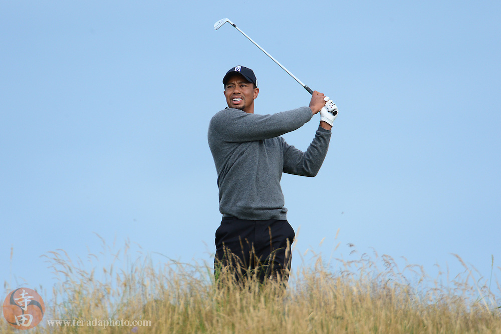 July 20, 2012; St. Annes, ENGLAND; Tiger Woods tees off on the 11th hole during the second round of the 2012 British Open Championship at Royal Lytham & St. Annes Golf Club.