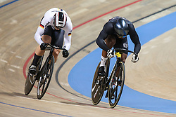 March 2, 2019 - Pruszkow, Poland - Nicholas Paul (R) of Trinidad and Tobago and Stefan Botticher (GER) compete in the Men's sprint qualifying race on day four of the UCI Track Cycling World Championships held in the BGZ BNP Paribas Velodrome Arena on March 02 2019 in Pruszkow, Poland. (Credit Image: © Foto Olimpik/NurPhoto via ZUMA Press)