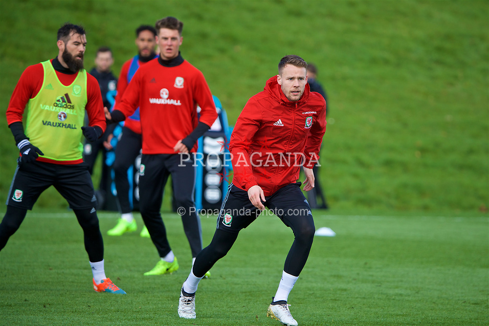 CARDIFF, WALES - Tuesday, March 21, 2017: Wales' Chris Gunter during a training session at the Vale Resort ahead of the 2018 FIFA World Cup Qualifying Group D match against Republic of Ireland. (Pic by David Rawcliffe/Propaganda)