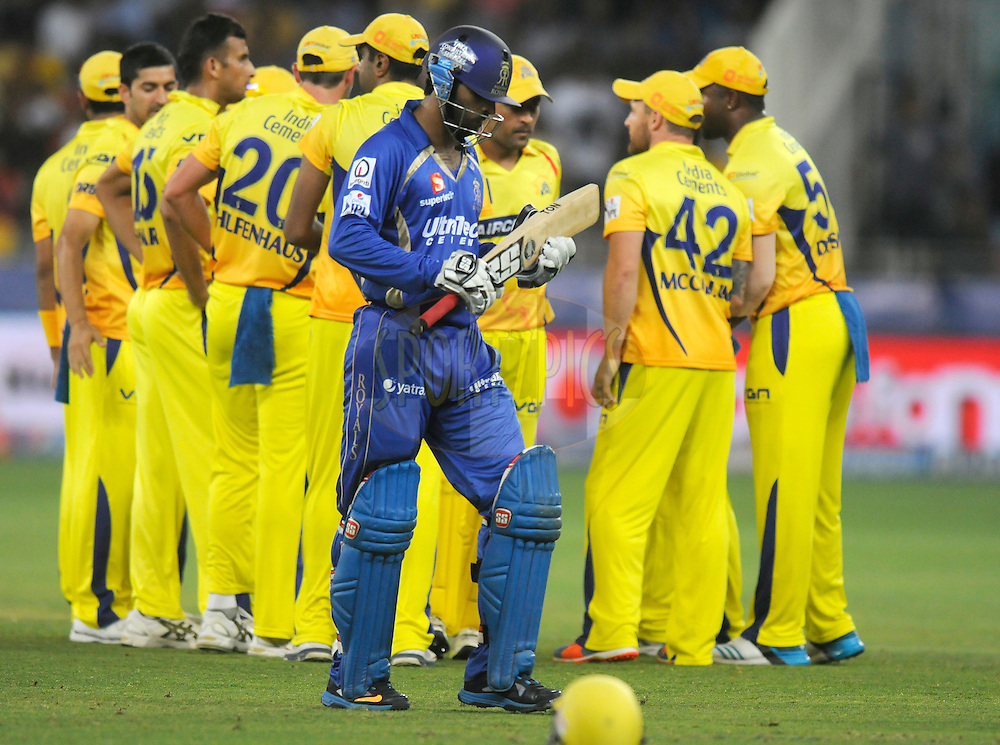 Abhishek Nayar of the Rajatshan Royals walks back after getting out during match 10 of the Pepsi Indian Premier League Season 7 between the Chennai Superkings and the Rajasthan Royals held at the Dubai International Stadium, Dubai, United Arab Emirates on the 23rd April 2014<br /> <br /> Photo by Pal Pillai / IPL / SPORTZPICS