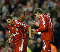 LIVERPOOL, ENGLAND - Saturday, January 26, 2008: Liverpool's Peter Crouch celebrates scoring the fifth goal against Havant and Waterlooville with captain Steven Gerrard MBE and Ryan Babel during the FA Cup 4th Round match at Anfield. (Photo by David Rawcliffe/Propaganda)