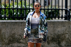 Street style, Camelia Jordana arriving at Balmain Spring-Summer 2019 menswear show held at Ministere des Affaires Etrangeres, in Paris, France, on June 24th, 2018. Photo by Marie-Paola Bertrand-Hillion/ABACAPRESS.COM