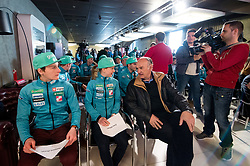 Domen Prevc, Ema Klinec and Ljubo Jasnic at press conference of Slovenian Nordic Ski team after seasn 2017-18 with main sponsor Mercator, on March 28, 2018 in Maximarket, Ljubljana, Slovenia. Photo by Matic Klansek Velej / Sportida