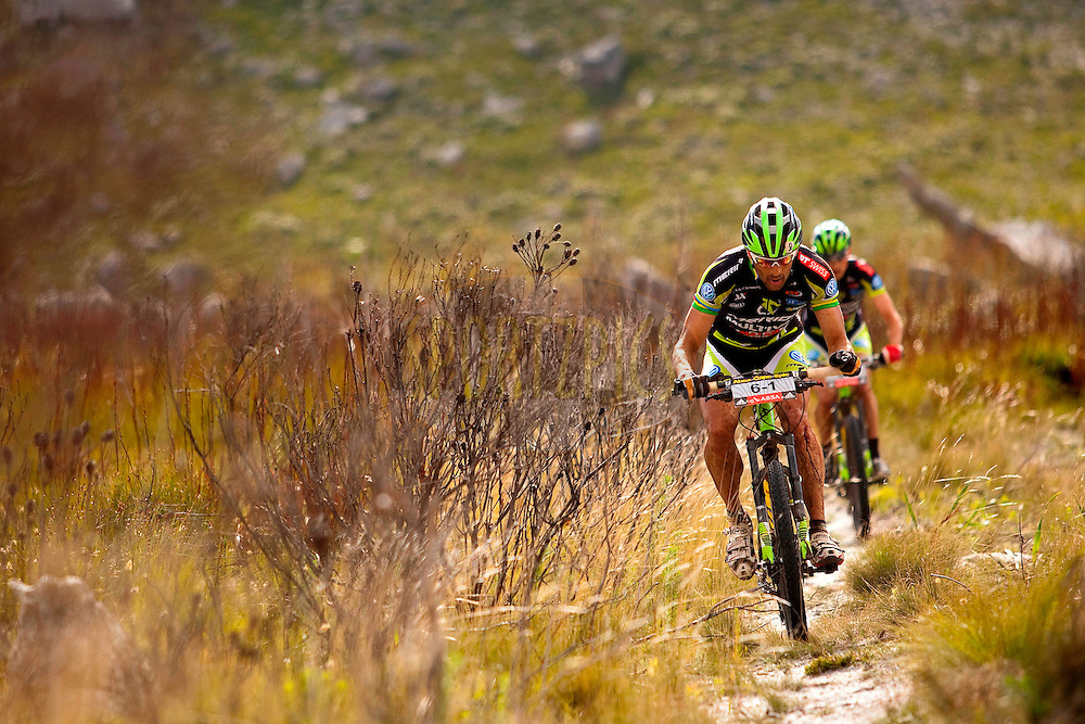 Jose Hermida and Rudi van Houts of team Multivan Merida 2 heading for the win during stage seven of the 2010 Absa Cape Epic Mountain Bike stage race held in and around Oak Valley in the Western Cape, South Africa on the 27 March 2010.Photo by Sven Martin/SPORTZPICS