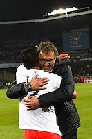 Joie PSG Champion - Thiago SILVA / Laurent BLANC - 16.05.2015 - Montpellier / Paris Saint Germain - 37eme journée de Ligue 1<br />Photo : Alexandre Dimou / Icon Sport