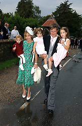 ZAC GOLDSMITH, his wife SHEHERAZADE and their children at the wedding of Tom Parker Bowles to Sara Buys at St.Nicholas Church, Rotherfield Greys, Oxfordshire on 10th September 2005.<br />