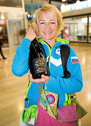 Nezka Poljansek of team aMaze of Tina Maze of Slovenia, 2-times gold winner during reception at arrival from Sochi Winter Olympic Games 2014 on February 23, 2014 in Airport Zagreb, Croatia. Photo by Vid Ponikvar / Sportida