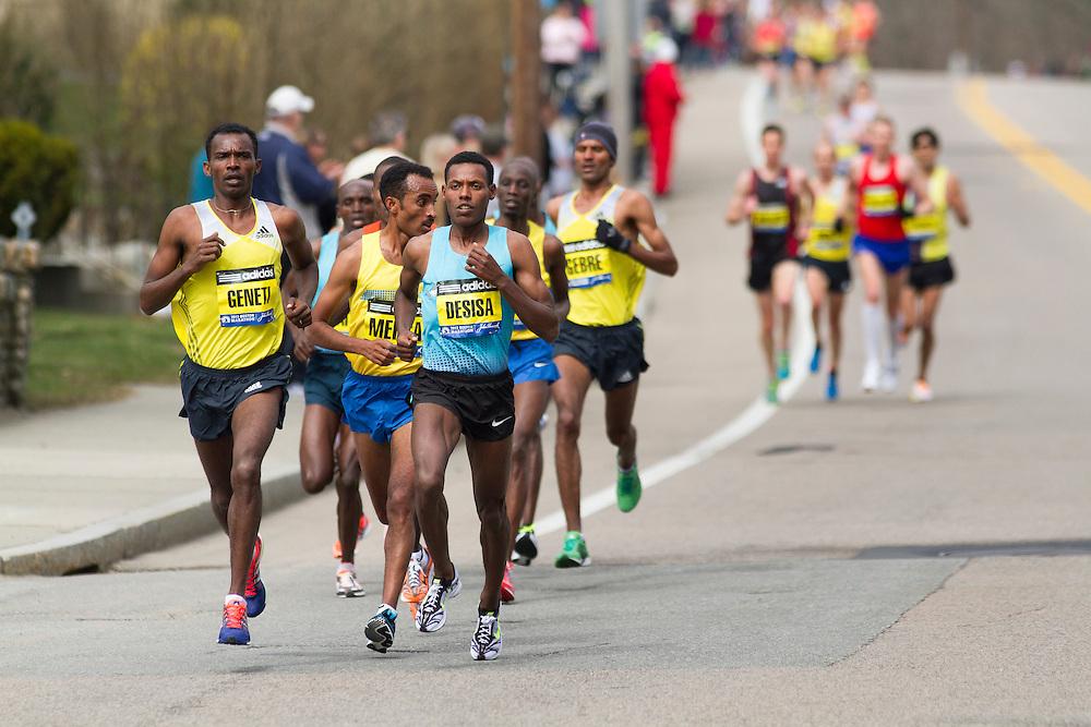 2013 Boston Marathon: lead pack of elite men