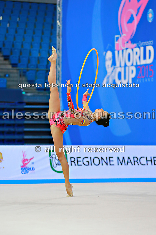 Sanchez Michelle during qualifying at hoop in Pesaro World Cup at Adriatic Arena on April 10, 2015. Michelle was born in Caracas on  March 03. She is a rhythmic gymnast member of the Venezuela National Team.