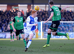 Cameron Burgess of Scunthorpe United heads clear from Rory Gaffney of Bristol Rovers - Mandatory by-line: Neil Brookman/JMP - 24/02/2018 - FOOTBALL - Memorial Stadium - Bristol, England - Bristol Rovers v Scunthorpe United - Sky Bet League One
