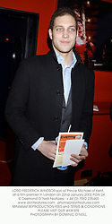 LORD FREDERICK WINDSOR son of Prince Michael of Kent, at a film premier in London on 22nd January 2003.PGN 24
