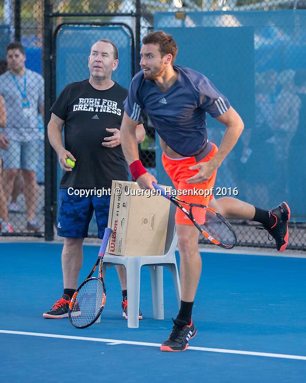 Trainer Guenter Bresnik und Ernests Gulbis, Training<br /> <br /> Tennis - Brisbane International  2016 - ATP -  Queensland Tennis Centre - Brisbane - QLD - Australia  - 6 February 2016. <br /> &copy; Juergen Hasenkopf