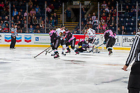 KELOWNA, CANADA - OCTOBER 21: James Porter #1 of the Kelowna Rockets makes a save on a shot by Kieffer Bellows #22 of the Portland Winterhawks on October 21, 2017 at Prospera Place in Kelowna, British Columbia, Canada.  (Photo by Marissa Baecker/Shoot the Breeze)  *** Local Caption ***