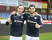 Goalscorers Nick Ross and Kane Hemmings give a thumbs up after their goals had won the derby for Dundee -  Dundee v Dundee United, Ladbrokes Premiership at Dens Park<br /> <br />  - &copy; David Young - www.davidyoungphoto.co.uk - email: davidyoungphoto@gmail.com