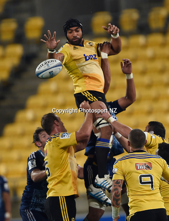 Victor Vito of the Hurricanes takes the line out throw during the Super Rugby - Hurricanes v Blues match at the Westpac Stadium in Wellington on Friday the 18th of April 2014.  Photo by Marty Melville/Photosport.co.nz