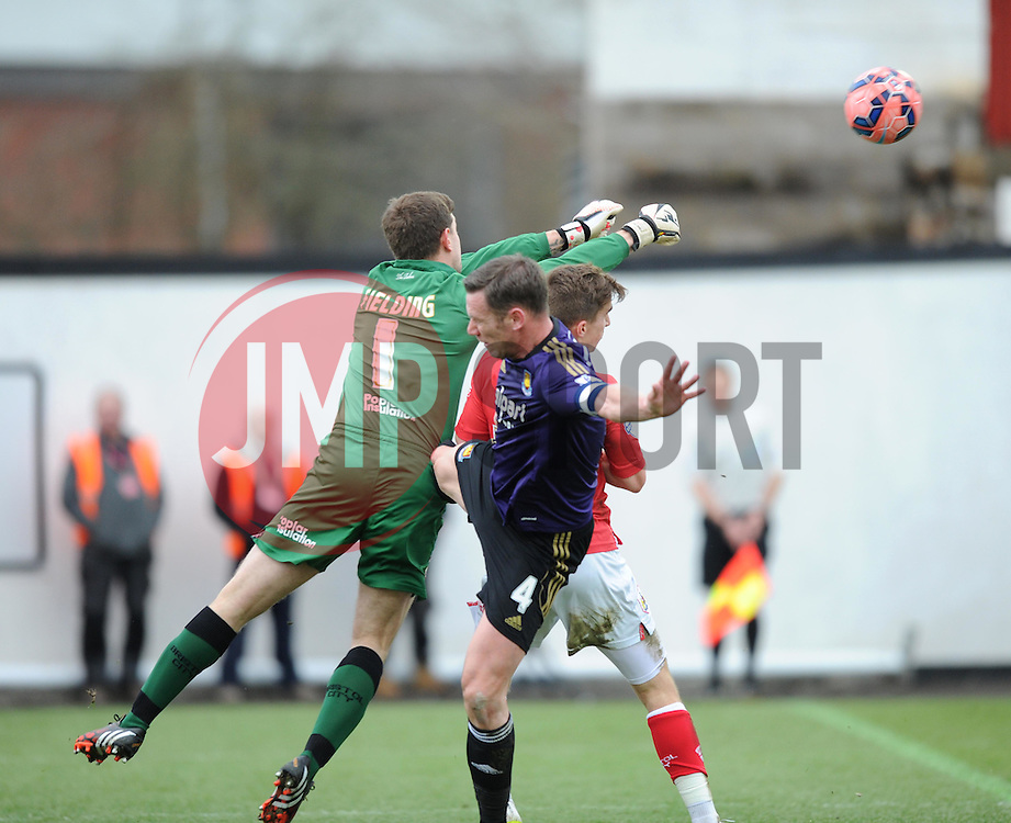 Bristol City goalkeeper, Frank Fielding punches the ball away from the City goal in the FA Cup fourth round match between Bristol City and West Ham United at Ashton Gate on 25 January 2015 in Bristol, England - Photo mandatory by-line: Paul Knight/JMP - Mobile: 07966 386802 - 25/01/2015 - SPORT - Football - Bristol - Ashton Gate - Bristol City v West Ham United - FA Cup fourth round