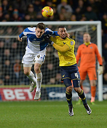 Tom Lockyer of Bristol Rovers wins a high ball from Kemar Roofe of Oxford United - Mandatory byline: Alex James/JMP - 17/01/2016 - FOOTBALL - The Kassam Stadium - Oxford, England - Oxford United v Bristol Rovers - Sky Bet League Two