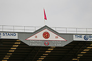 The clock face and crest of Sheffield United for the EFL Cup match between Sheffield United and Blackburn Rovers at Bramall Lane, Sheffield, England on 27 August 2019.