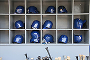 LOS ANGELES, CA - APRIL 28:  Bats and batting helmets are stored in bins and ready for the Los Angeles Dodgers game against the Milwaukee Brewers on Sunday, April 28, 2013 at Dodger Stadium in Los Angeles, California. The Dodgers won the game 2-0. (Photo by Paul Spinelli/MLB Photos via Getty Images)