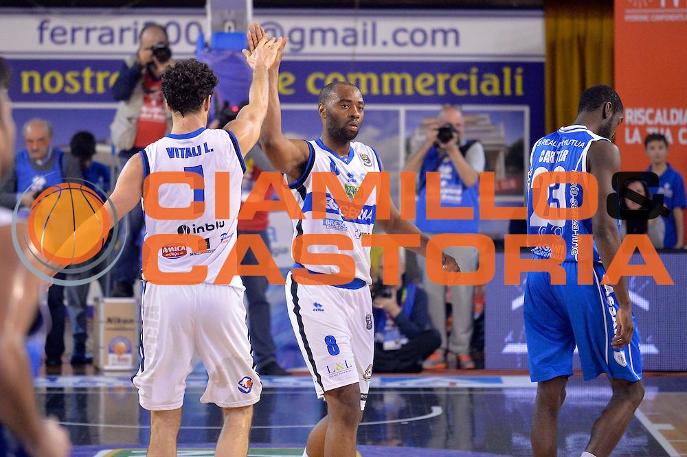 Marcus Landry, Luca Vitali<br /> Germani Basket Brescia Leonessa - Banco di Sardegna Dinamo Sassari <br /> Lega Basket Serie A 2016/2017<br /> Montichiari, 05/02/2017<br /> Foto Ciamillo-Castoria
