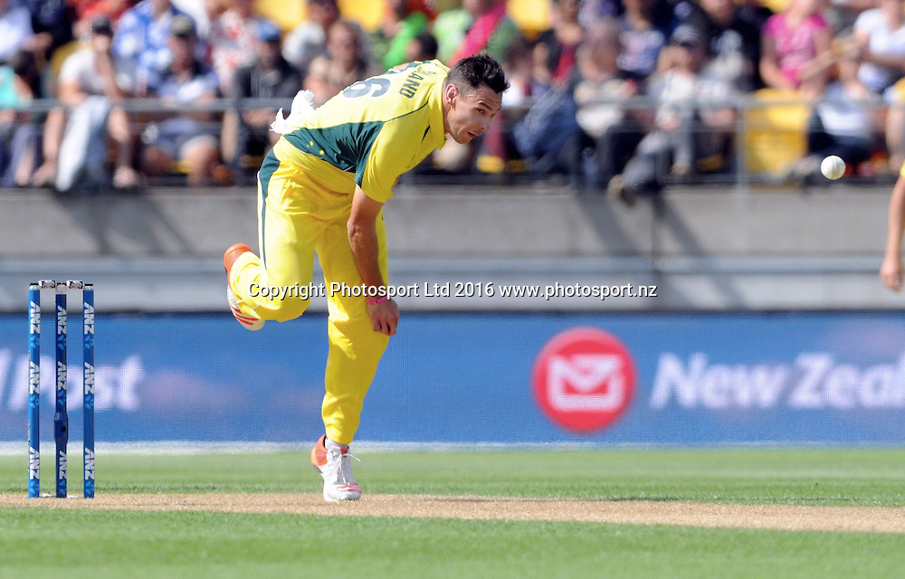 Australia's Scott Boland bowls in the 2nd match of the Chappell-Hadlee ODI series, New Zealand vs Australia, Westpac Stadium, Wellington, Saturday, February, 06, 2016. Copyright photo: Kerry Marshall / www.photosport.nz