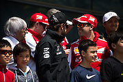 April 10-12, 2015: Chinese Grand Prix - Sebastian Vettel (GER), Ferrari, Bernie Ecclestone, Fernando Alonso (SPA), McLaren Honda
