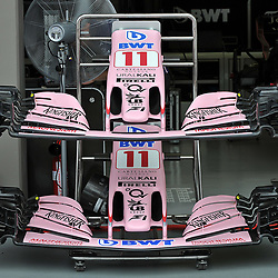 Sergio Perez's Sahara Force India F1 cars nose cones.<br /> Day 1 of the 2017 Formula 1 Singapore airlines, Singapore Grand Prix, held at The Marina Bay street circuit, Singapore on the 14th September 2017.<br /> Wayne Neal | SportPix.org.uk