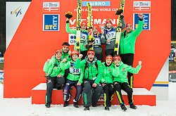 Second placed VOGT Carina (GER), winner ALTHAUS Katharina (GER), third placed WUERTH Svenja (GER) celebrate with coach Andreas Bauer and the rest of German team at trophy ceremony during Day 2 of World Cup Ski Jumping Ladies Ljubno 2017, on February 12, 2016 in Ljubno ob Savinji, Slovenia. Photo by Vid Ponikvar / Sportida