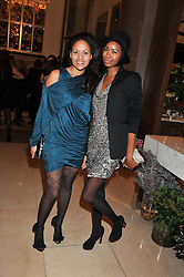 Left to right, RACHEL BARRETT and TOLULA ADEYEMI at a dinner hosted by Pablo Ganguli and Ella Krasner to celebrate the 10th Anniversary of Liberatum and in honour of Sir Peter Blake held at The Corinthia Hotel, Nortumberland Avenue, London on 23rd November 2011.