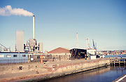 Scans from slides with imperfections of Ipswich Wet Dock in 1990s before redevelopment, Suffolk, England, UK- some are cropped small because of low quality/damage