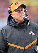 Denver Broncos head coach John Fox grimaces on the sideline during the NFL week 19 AFC Divisional Playoff football game against the Indianapolis Colts on Sunday, Jan. 11, 2015 in Denver. The Colts won the game 24-13. ©Paul Anthony Spinelli