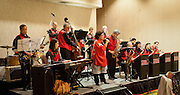 "The Minidoka Swing Band performs in the ballroom at Portland Marriott Downtown Waterfront hotel, Portland, Oregon. The evening event, ""An Intimate Dinner with Geoge Takei"", was sponsored by Oregon Nikkei Endowment."