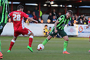 Sean Rigg forward for AFC Wimbledon (11) and Seamus Conneely midfielder Accrington Stanley (28) during the Sky Bet League 2 play-off 2nd leg match between Accrington Stanley and AFC Wimbledon at the Fraser Eagle Stadium, Accrington, England on 18 May 2016. Photo by Stuart Butcher.
