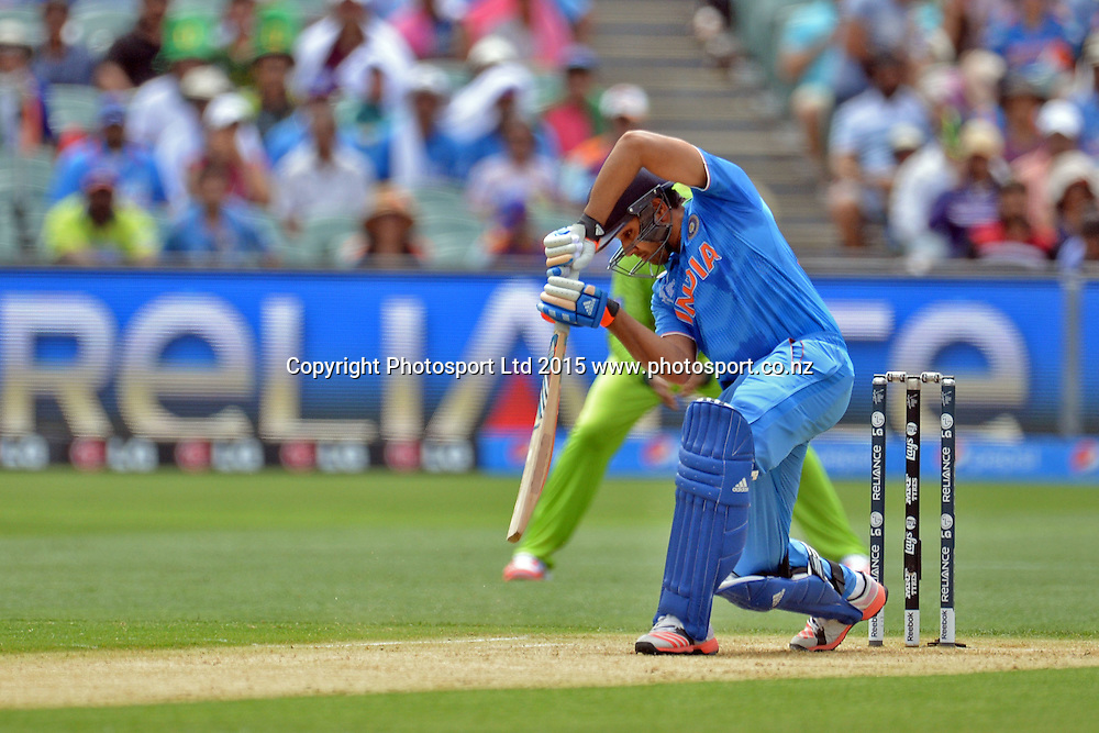 Indian batsman Rohit Sharma in action during the ICC Cricket World Cup match between India and Pakistan at Adelaide Oval in Adelaide, Australia. Sunday 15 February 2015. Copyright Photo: Raghavan Venugopal / www.photosport.co.nz