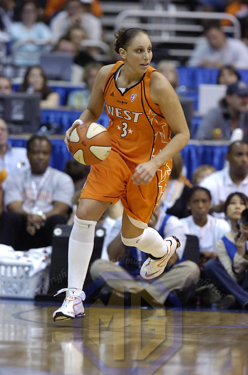 15 July 2007:   Phoenix Mercury guard Diana Taurasi of the Western Conference All-Stars in action against the Eastern Conference All-Stars in the WNBA All-Star game at Verizon Center in Washington, D.C. The Eastern Conference All-Stars defeated the Western Conference All Stars 103-99.