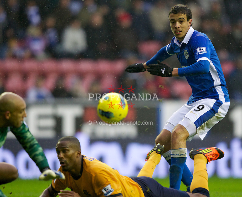 WIGAN, ENGLAND - Saturday, February 4, 2012: Wigan Athletic's Franco Di Santo misses a big chance during the Premiership match against Everton at the DW Stadium. (Pic by Vegard Grott/Propaganda)