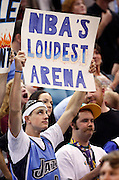 A Utah Jazz fan holds up a sign during a time out in the second half of Game 3 of the NBA Western Conference first-round playoff series in Salt Lake City, Friday, April 23, 2010. (AP Photo/Colin Braley)