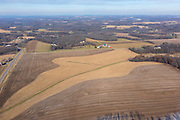 Aerial photograph of rural Dane County, Wisconsin, USA, farmland.