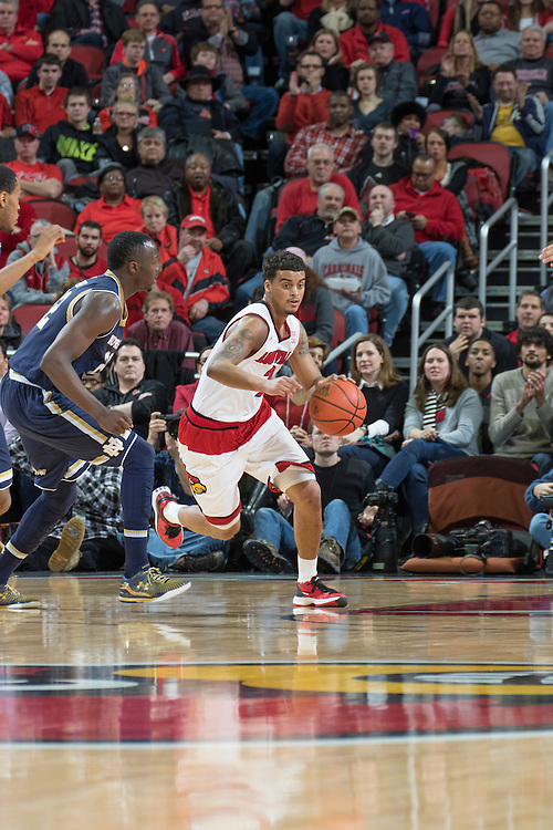 Louisville guard Quentin Snider. <br /> <br /> The University of Louisville hosted the Notre Dame, Wednesday, March 04, 2015 at Yum Center in Louisville. <br /> <br /> Photo by Jonathan Palmer