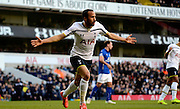 Andros Townsend celebrates scoring penalty during the The FA Cup match between Tottenham Hotspur and Leicester City at White Hart Lane, London, England on 24 January 2015. Photo by Alan Franklin.