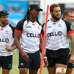 Odwa Ndungane during The Cell C Sharks training session at Growthpoint Kings Park in Durban, South Africa. 13th March 2017(Photo by Steve Haag)<br /> <br /> images for social media must have consent from Steve Haag