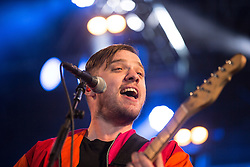 © Licensed to London News Pictures . 06/06/2015. Manchester , UK . JONATHAN HIGGS . Everything Everything perform on the Big Top stage at The Parklife 2015 music festival in Heaton Park , Manchester . Photo credit : Joel Goodman/LNP