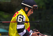 Jockey Irad Ortiz in the paddock deep in thought.