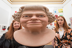 "© Licensed to London News Pictures. 05/06/2018. LONDON, UK. Visitors view ""The Queen"" by John Humphreys at a preview of the 250th Summer Exhibition at the Royal Academy of Arts in Piccadilly, which has been co-ordinated by Grayson Perry RA this year.  Running concurrently, is The Great Spectacle, featuring highlights from the past 250 years.  Both shows run 12 June to 19 August 2018.  Photo credit: Stephen Chung/LNP"