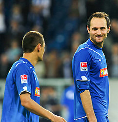 10.09.2010, Rhein-Neckar-Arena, Sinsheim, GER, 1. FBL, TSG Hoffenheim vs Schalke 04, im Bild nach dem Spiel, Josip Simunic (Hoffenheim CRO #14) und Sejad Salihovic (Hoffenheim BOS #23), Torschuetze, EXPA Pictures © 2010, PhotoCredit: EXPA/ nph/  Roth+++++ ATTENTION - OUT OF GER +++++