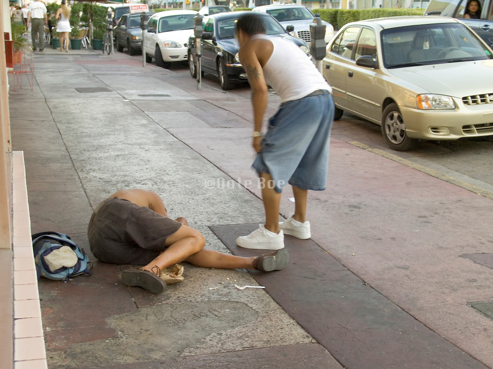 Homeless man on a sidewalk Miami USA