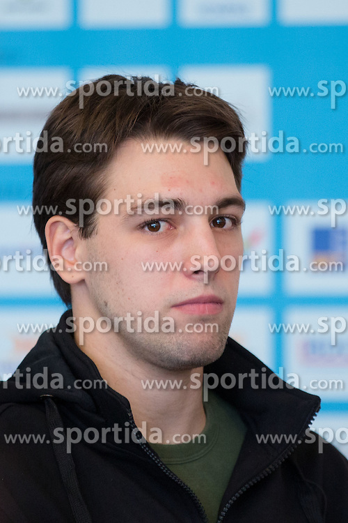 Ziga Pance at press conference of Olympic committee and Hokejska zveza Slovenije prior to the Qualification for the Olympic games Sochi 2014, on February 1, 2013 in Ljubljana, Slovenia. (Photo By Matic Klansek Velej / Sportida.com)
