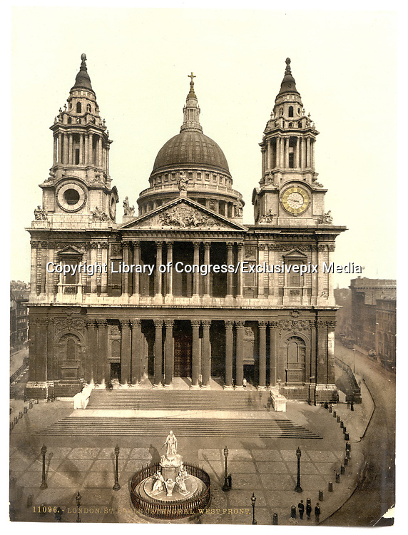 Stunning Old photochrome prints turn back the clock in London <br /> <br /> colourised postcards from the Victorian era,  postcards were made using photochrom - a method of producing colourised photos from negatives<br /> <br /> Photo shows: St. Paul's Cathedral, West Front, London, England, between 1890 and 1900<br /> ©Library of Congress/Exclusivepix Media