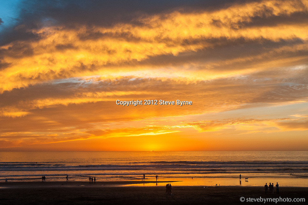 Fall sunset at Ocean Beach.  San Francisco, California.