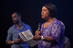 © Licensed to London News Pictures. 18/06/2013. London, UK. The mother of murdered teenager Stephen Lawrence, Doreen Lawrence is seen during a question and answer session held at a press conference for 'Unity - A Concert for Stephen Lawrence', in London today (18/06/2013). The concert will be held in aid of the Stephen Lawrence Charitable Trust, which helps young people from disadvantaged backgrounds, on the 29th of September 2013 at the O2 arena in Greenwich, London. Photo credit: Matt Cetti-Roberts/LNP